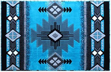 Masada Rugs, Southwest Native American Design Turquoise Area Rug 3 Feet X 4 Feet 8 Inch