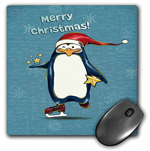 3dRose Dooni Designs Christmas And Winter Designs - Cute Merry Christmas Ice Skating Santa Penguin Holding Stars With Snowflakes Holiday Xmas Greeting - MousePad (mp_119115_1)