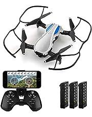 HELIFAR H1 Drone con cámara, Mini Drone con aplicación de WiFi FPV HD 720P, Drone Plegable con ángulo de cámara Ajustable, Altitude Hold, Tiempo de Vuelo 36 Minutos con 3 baterías