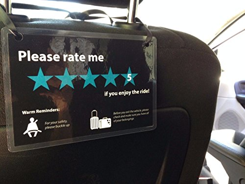 5 Star Seat - (Set of 3) Uber Lyft Headrest 5 Star Ratings Decal Sign Rideshare Car Display Cards