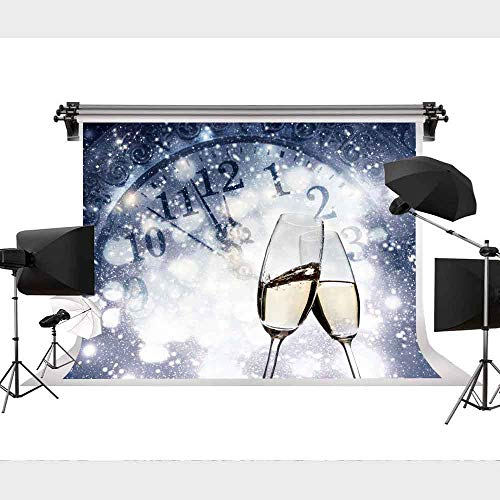 STS 9X6FT Holiday Celebration Backdrop Countdown Party Starlight Champagne Wine Glasses Bokeh Halos Backdrop Vinyl Photography Background - Starlight Champagne