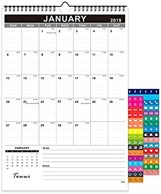 February Calendar 2019.Towwi Monthly Wall Calendar January 2019 February 2020 Desk Calendar 12 X 17 Wirebound Calendar For School Home Office 12x17