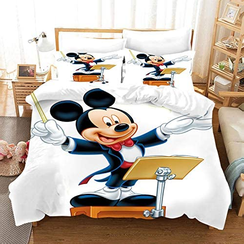 3PC Mickey Minnie Mouse Duvet Cover Duvet Cover Gorgeous Cartoon Mickey Minnie Mouse Bedding Set 100/% Polyester Kids Boys and Giry Bed Set 1 Duvet Cover 2 Pillowcase Twin Full Queen King Size