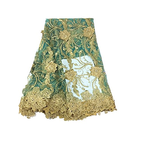 LaceQin 5 yards 3D three-dimensional embroidery France Nigeria lace Africa network embroidery hot drilling fabric (Green)