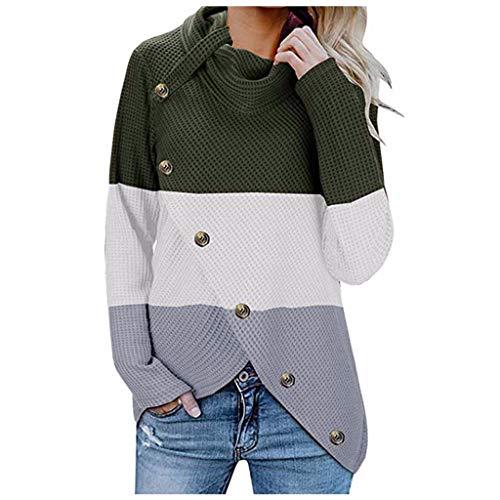 Skimpiest Halloween Costumes - KLFGJ Women Sweater with Button Turtleneck