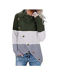 Dainzuy suéteres para Mujer, Cuello de Tortuga, Botones de Patchwork, Mangas largas, Casual, Tela Grueso, Dobladillo asimétrico, suéter