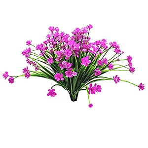 Lanldc 4 Bundles Artificial Flowers Outdoor UV Resistant Shrubs Faux Daffodils Outdoor Greenery Plants for Indoor Outside Home Garden Décor 3