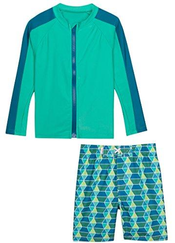 SwimZip¨ Little Boy Zipper Long Sleeve Rash Guard Swimsuit Set Splash Zone Blue 6