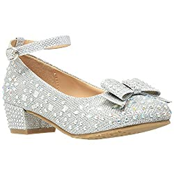 Dress Shoes With Glitter Rhinestone & Bow Accent