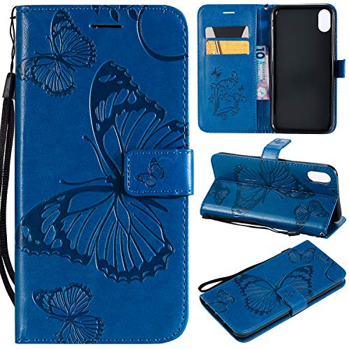 NOMO iPhone Xs Max Wallet Case,iPhone Xs Max Case with Card Holders,Premium Soft Folio Flip Leather Butterfly Handmade Case Cover with Card Slots Kickstand Phone Case for Apple iPhone Xs Max,Navy