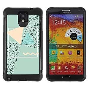 Suave TPU Caso Carcasa de Caucho Funda para Samsung Note 3 / Abstract 90'S Art Pink Green / STRONG