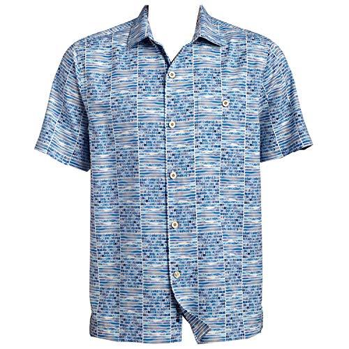 Tommy Bahama Rio Geo Island Zone Silk Blend Camp Shirt (Color: Aqua Ice, Size XL)