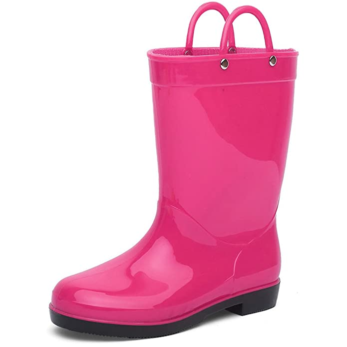 CIOR Toddler Rain Boots Girls Boys Durable PVC Rubber Kids Waterproof Shoes