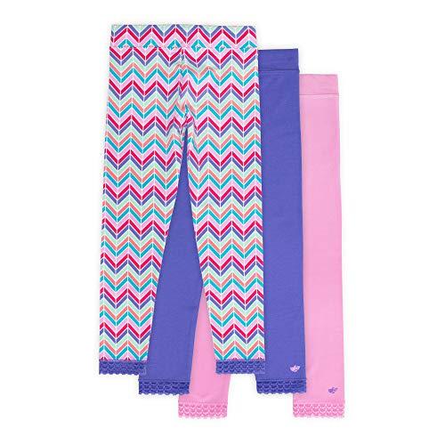 Jada Athletic Leggings for Girls, 3 Pack, Tagless, Lace Trim, Full Length, Pink/Purple/Chevron Print, ()