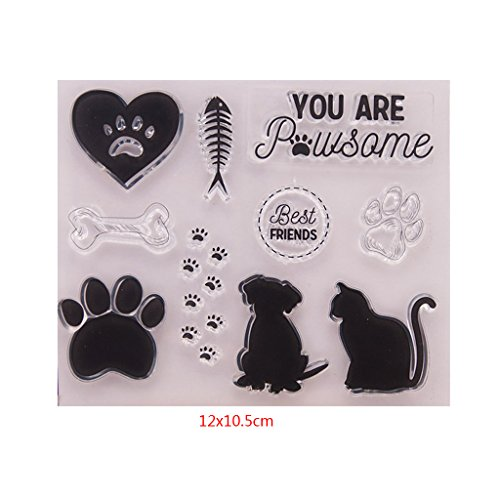 Yajom Dog Cat Clear Silicone Seal Stamp for DIY Album Scrapbooking Photo Card Decor by Yajom (Image #1)