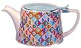 London Pottery Company Kaffe Fassett Oval-Filter Ceramic Infuser Teapot, 750 ml (26.5 fl oz) – Patchwork