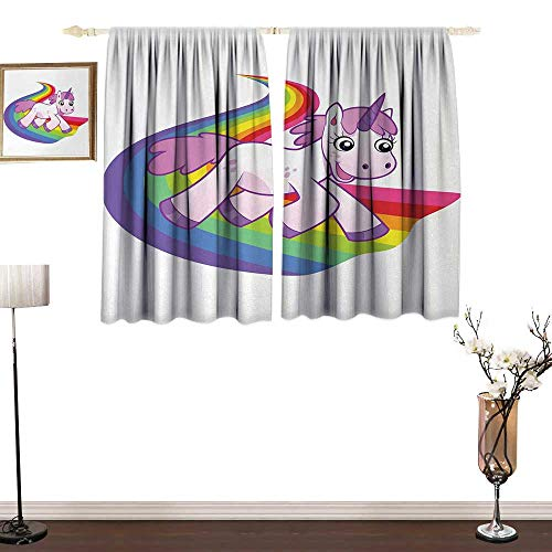 Slunmarl CartoonThick Cloth curtainBaby Unicorn Runs on The Rainbow Mythological Fantasy Legendary Creature Image Isolant Thermique Curtains for Kids Blanc Pâle Gris52×84