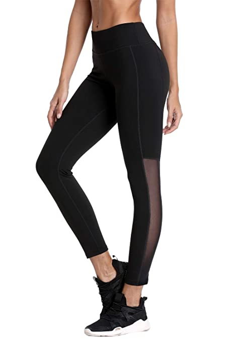 fe894658 V FOR CITY Women Athletic Legging Yoga Pants Active Gym Pants Mesh Black S
