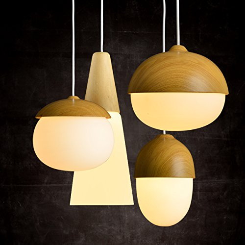 MASO Home, The Modern Elegance Style of Pendant Hanging Lamps, Natural Wood Color Based with Glass Shade Pendant Ceiling Light, Retro Industrial Lamp Vintage Unique Design (Chestnut Shape) by Maso Home (Image #4)