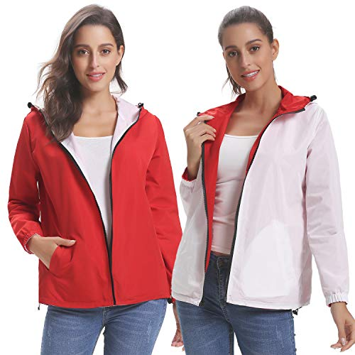 Abollria Raincoats Waterproof Lightweight Rain Jacket Active Outdoor Women's Trench - Cycling Jackets Ladies