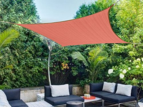 Solar Shade Shelter (Shatex 12x10ft New Design 90% Square Sun Shade Sail,Sun shelter, Patio Shade, Taped Edge with Grommets)