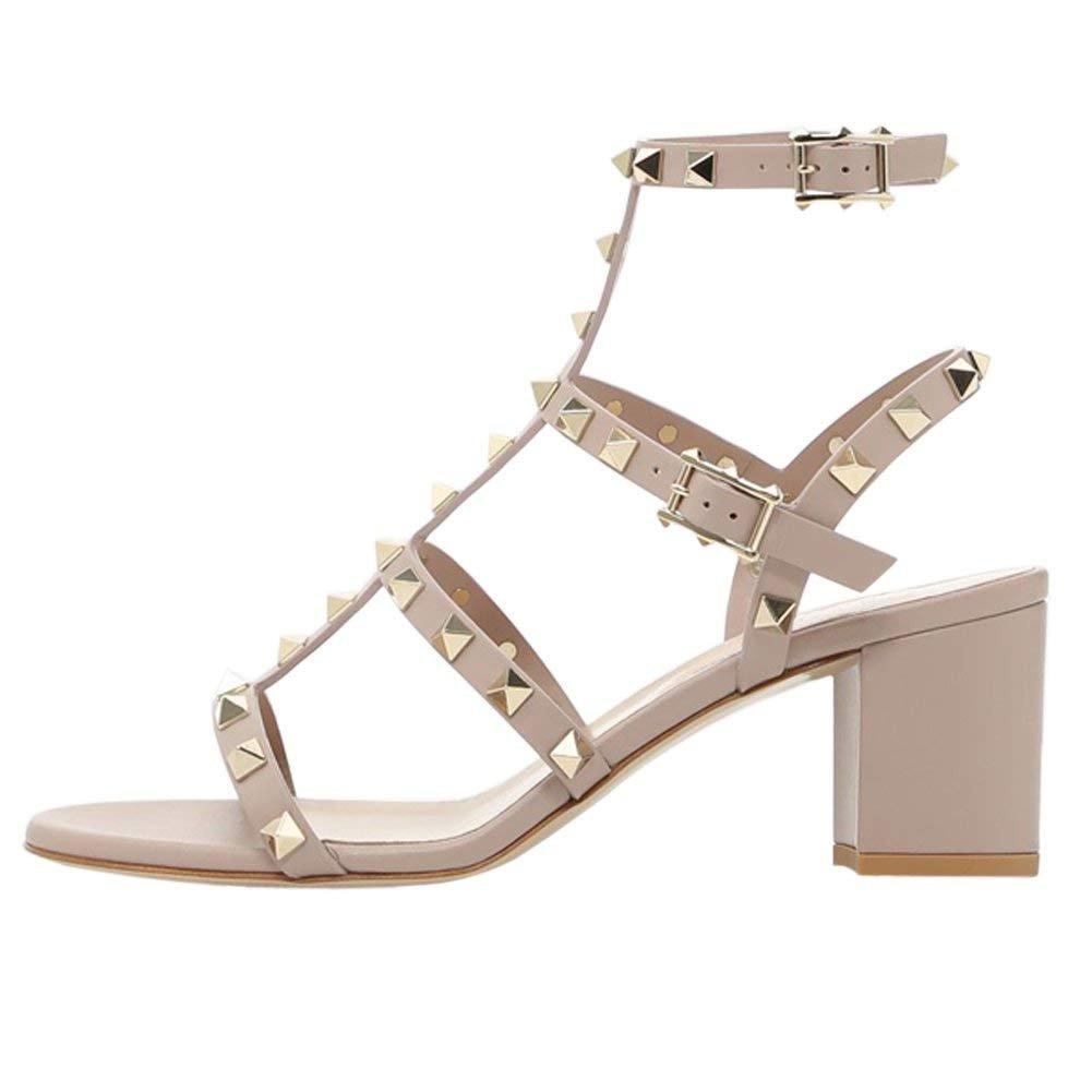 Chris-T Chunky Heels for Womens Studded Slipper Low Block Heel Sandals Open Toe Slide Studs Dress Pumps Sandals 5-14 US B07DQH528J 7 B(M) US|Nude/5cm/Slingback