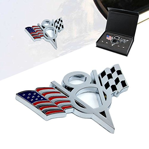 Dsycar 3D Metal V8 Engine Displacement Logo US Racing Flag Car Emblem Badge Sticker Decals For Jeep BMW Mustang Chevrolet Nissan Mazda Audi VW Ford Honda Toyota - Gift 4 Free V8 Logo Valve Stem Caps (Flag Emblem Badge)