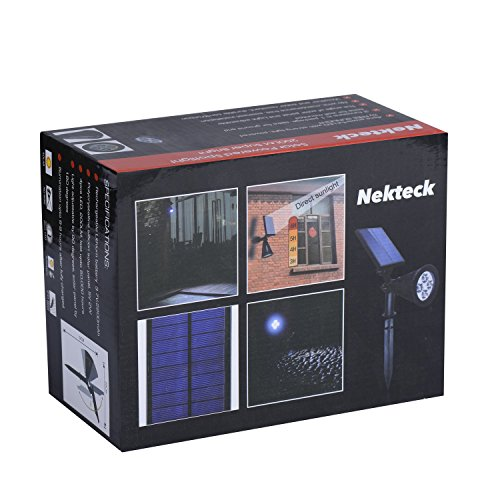 Nekteck Solar Powered Garden Spotlight - Outdoor Spot Light for Walkways, Landscaping, Security, Etc. - Ground or Wall Mount Options (2 Pack, White) by Nekteck (Image #9)