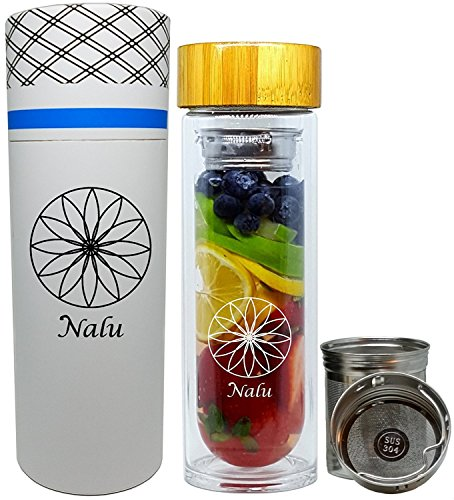 NALU SUN Tea Infuser Tumbler, Fruit Infusion Glass Bottle & Coffee Brewer - Stainless Steel 2-stage Filter/Strainer and No Plastic! 15.8 - Sun Glass Hot