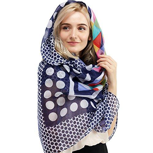 Women Cotton Long Scarf Lady's Polyester Shawls Thin Soft Head Kerchief Summer Neckerchief Women's Wraps Spring Autumn (Blue)