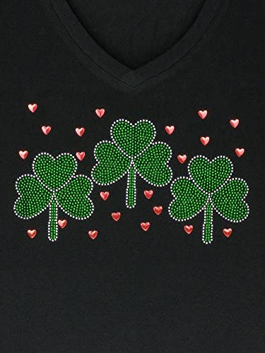 DivaDesigns Womens Three Shamrock Leaves /& Scattered Hearts Rhinestone Bling V-Neck T-Shirt