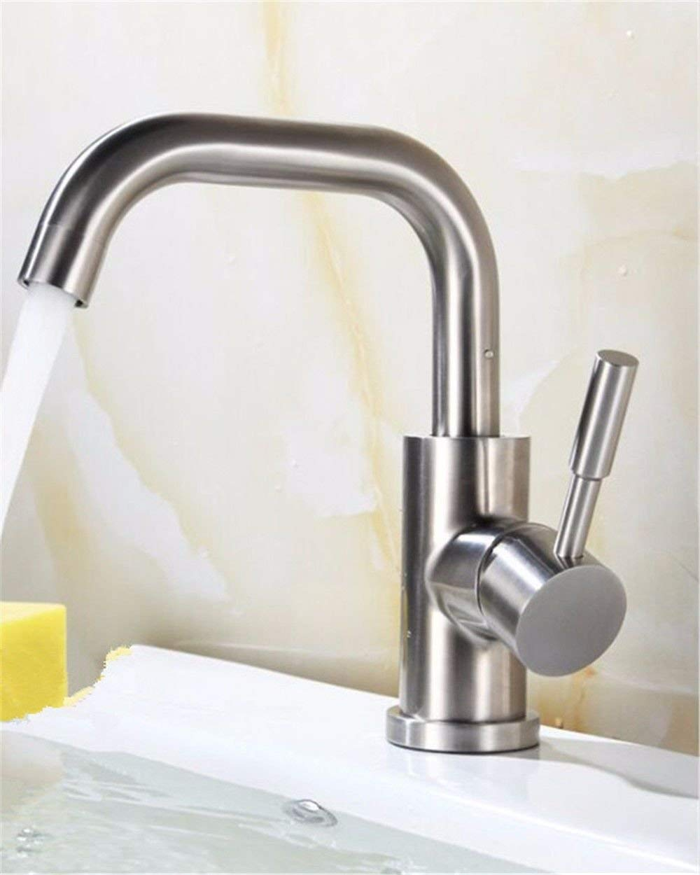 3304 Oudan Basin Mixer Tap Bathroom Sink Faucet Stainless Steel Washbasin Faucet hot and cold toilet single hole basin bench Vanity basin,3342 (color   3307)