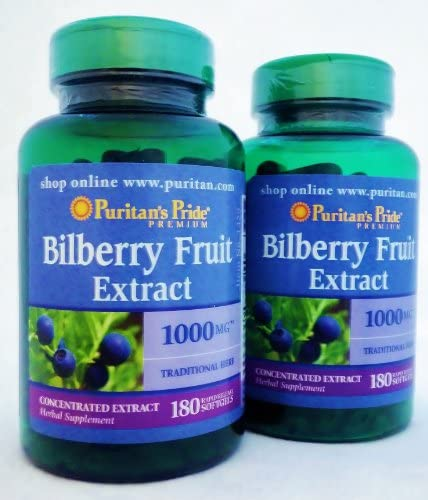 Puritan s Pride 2 Pack of Bilberry 1000 mg Puritan s Pride Bilberry 1000 mg-180 Softgels