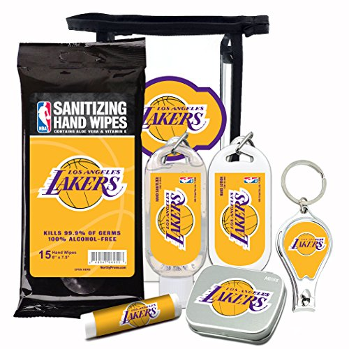 LA Lakers 6-Piece Fan Kit with Decorative Mint Tin, Nail Clippers, Hand Sanitizer, SPF 15 Lip Balm, Hand Lotion, Sanitizer Wipes. NBA Gifts for Men and Women By Worthy