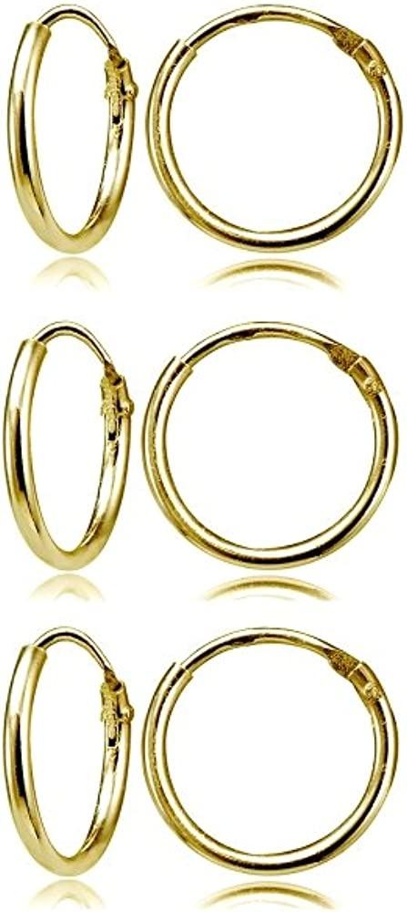 Sterling Silver Small Endless 12mm Round Unisex Hoop Earrings for Men Women Set of 3 Pairs