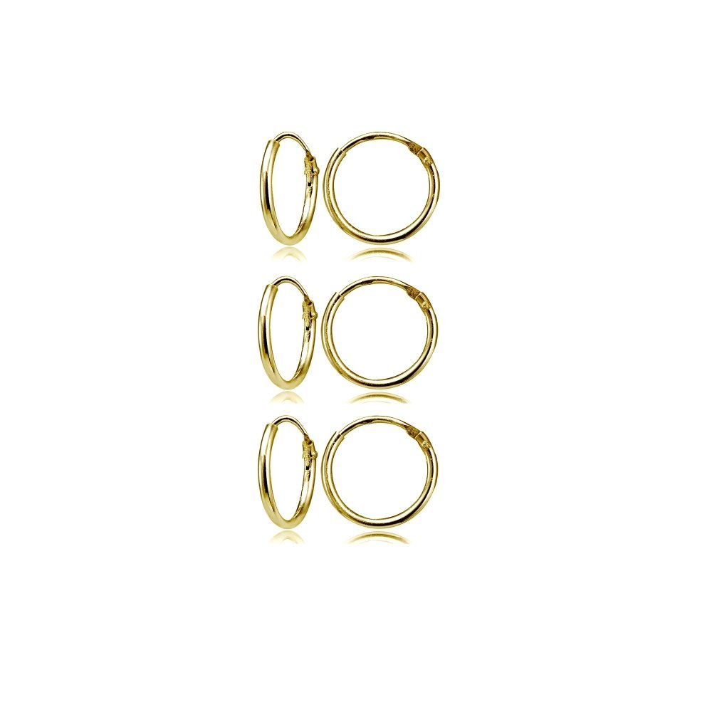 Gold Flash Sterling Silver Small Endless 12mm Round Unisex Hoop Earrings, Set of 3 Pairs