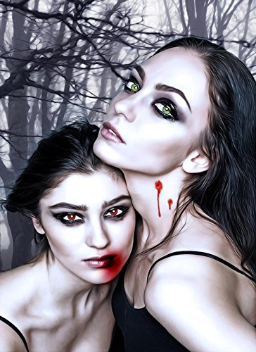 LAMINATED 24x33 POSTER: Vampires Vamps Female Couple Fantasy Girls Girls Blood Gothic Goth Dark Fantasy Characters Gothic Girls Portrait Sexy Creepy Horror Scary Halloween Darkness Bite -