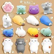 Mochi Squishy, Calans 16 Pcs Mochi Animals Stress Toys Mochi Squishy Toy Soft Squishy Stress Relief Animal Toys Mochi Squeeze Toys Mini Cat Squishies, Random Color