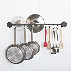 Delux Wall Mounted Hanging Utensil Organizer Durable Strong Heavy Duty Iron Gourmet Kitchen Thick Rail and 10 S Hooks Set Utensil Pot Pan or Lid Storage Organization