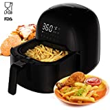 Power Air Fryer XL, Rackaphile Electric Air Fryer Oven 3.7 Qt No Oil Airfryer with 8 Preset Settings, Digital LED Touch Screen, Temperature Timer Control, 360° Rapid Hot Air Technology, Oil-Free and Healthy, for Home Kitchen Meals, Black