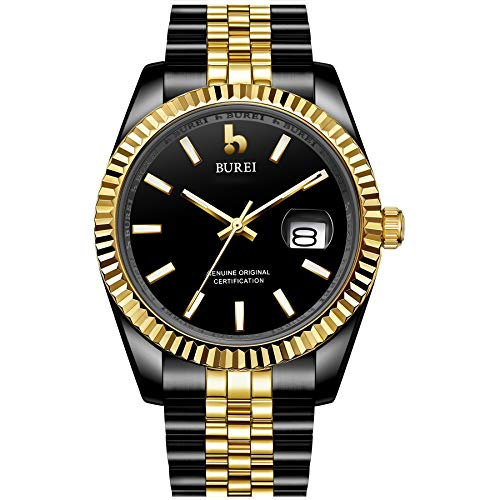 BUREI Mens Luxury Automatic Watches 24 Dial Analog Calendar Window Display Sapphire Crystal Glass with Two Tone Stainless Steel ()
