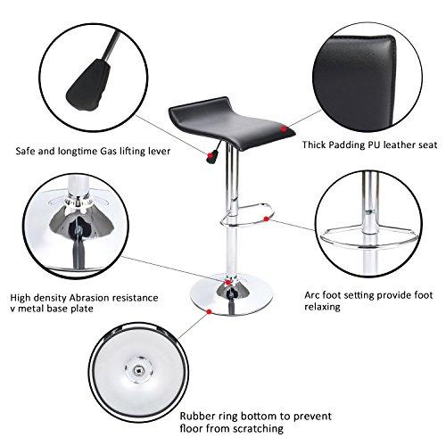 Awesome Set Of 6 Barstool Coavas Black Modern Adjustable Swivel Pu Short Links Chair Design For Home Short Linksinfo