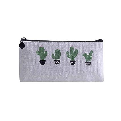 Estuche para lápices de estilo fresco, diseño de cactus de Bloodfin, gran capacidad, con doble cremallera, ideal como regalo para niños: Amazon.es: Belleza