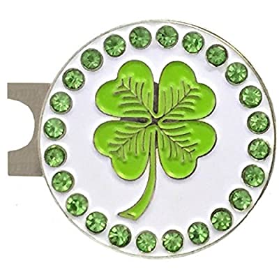 Giggle Golf Bling Four Leaf Clover Golf Ball Marker With A Standard Hat Clip
