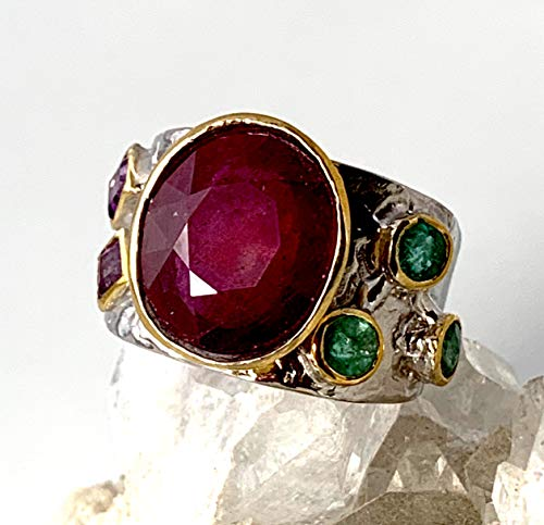 Sz 9.5, Genuine Madagascar RUBY (6.6 ct.), EMERALD and AMETHYST Natural Gemstones, 14k GOLD and 925 Sterling Silver, Two Tone Band Ring Jewelry for both Men and Women. ()