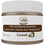 BEST All Natural Coconut Deodorant, by Carolina Soap Works | 2 Ounce Jar/60 Day Supply | NO Aluminum, NO Parabens | For Men and Women of All Ages | Non-GMO, BPA Free