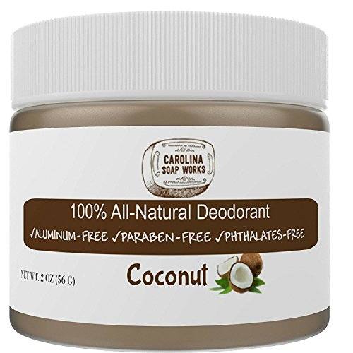 Natural Works (BEST All Natural Coconut Deodorant, by Carolina Soap Works | 2 Ounce Jar/60 Day Supply | NO Aluminum, NO Parabens | For Men and Women of All Ages | Non-GMO, BPA Free)