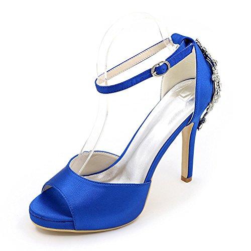 L@YC Zapatos De Boda De Las Mujeres Confort De Tacones altos BáSico De SatéN De La Bomba Vestido De Novia Partido Y Noche Rhinestone Perla ImitacióN Blue