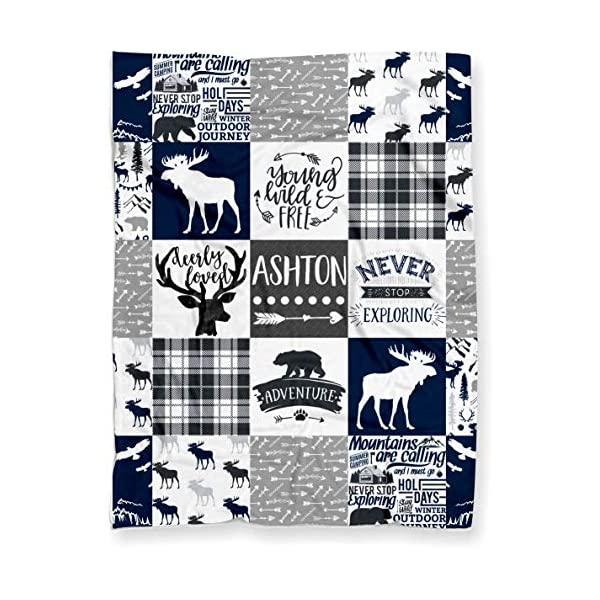 Personalized Moose Minky Baby Blanket Woodland Boho for Boy (Soft Polyester Fleece – 30″ x 40″ – Navy Blue, Black and Gray)