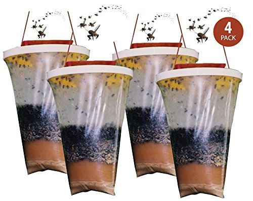 Flies Be Gone Fly Trap (REDTOP Flycatchers Standard Size - 100% Non-Toxic Disposable Outdoor Fly Trap - Designed to Attract Egg-Laying Females (Pack of 4))
